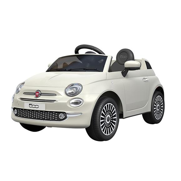 Fiat 500 blanc / bleu ciel / rose électrique 2 x 6V avec MP3/SD inclus - de 3 à 6 ans - 30kg max
