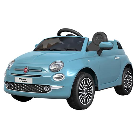 Fiat 500 blanc / bleu ciel / rose électrique 2 x 6V avec MP3/SD inclus - de 3 à 6 ans - 30kg max MotorKid