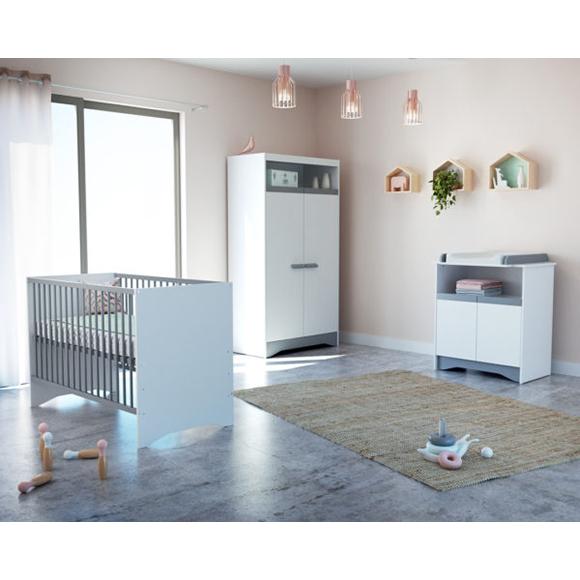 Chambre complète COTILLON Blanc et Gris ATELIER T4
