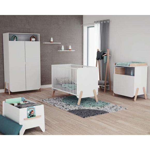 Chambre Complete PIRATE Blanc et Hêtre ATELIER T4