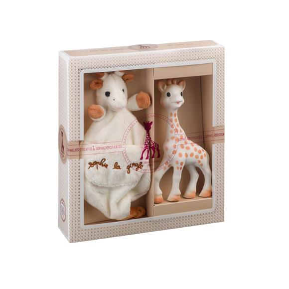 Création tendresse - composition 1 (Sophie la girafe + Doudou avec attache-sucette)