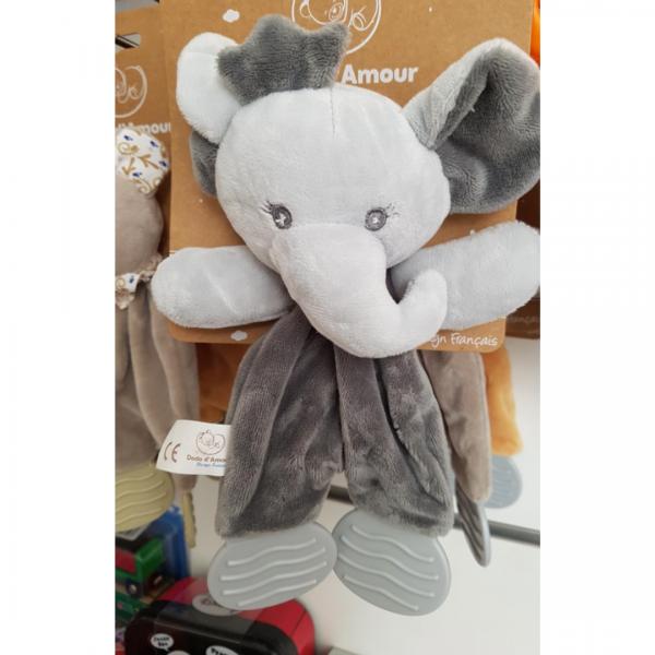 Doudou Mouchoir Dentition sur éléphant