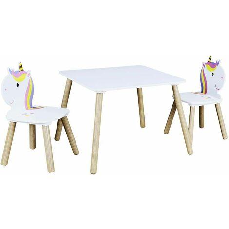 Table et 2 chaises en bois licorne Lily