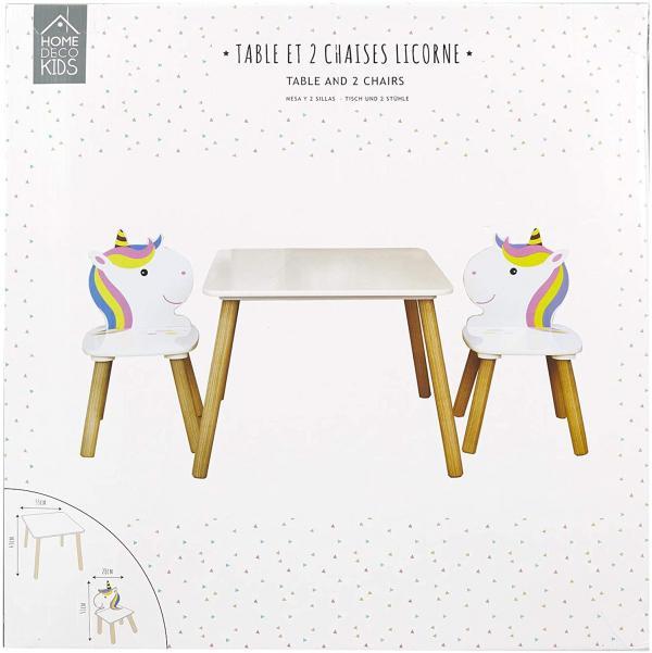 Table et 2 chaises en bois licorne Lily Home Déco Kids