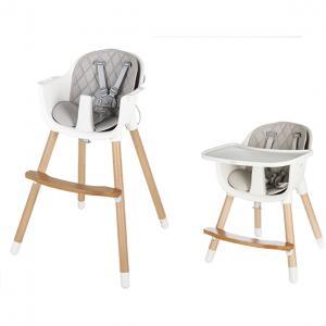 Chaise haute réglable Blij'r Robbien 2 en 1 avec plateau et pieds en bois.